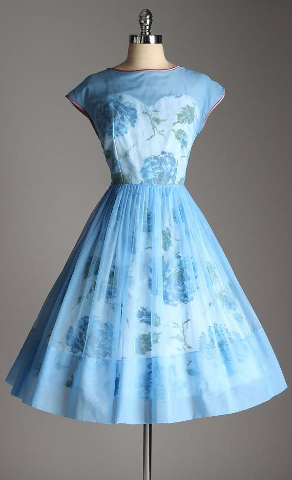 vintage 1950s dress . blue floral print by millstreetvintage
