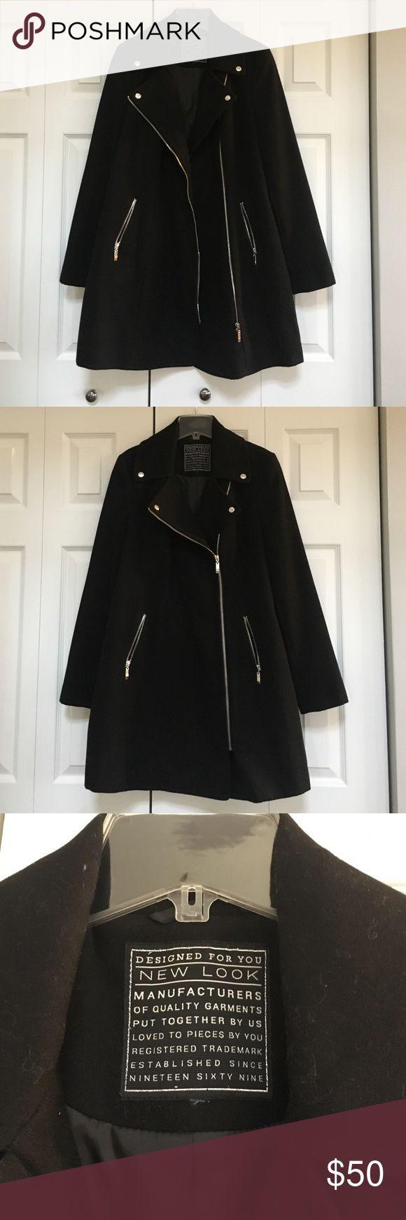 ASOS New Look Black Biker Coat ASOS New Look Black Moto Coat in size 12 ASOS Jackets & Coats