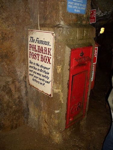 The famous Poldark Mine Post Box, Cornwall  - the deepest post box in Britain.