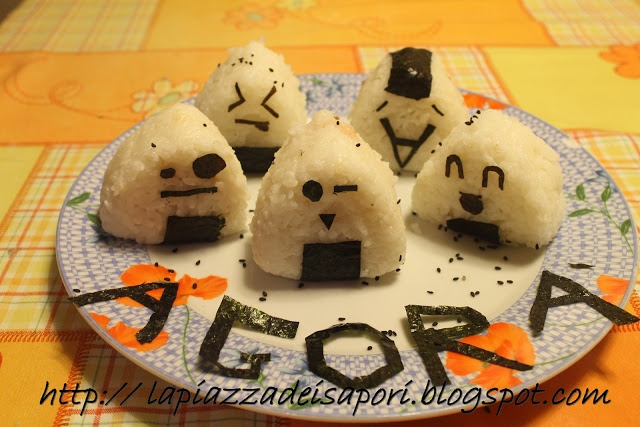 #Onigiri, polpettine di riso #giapponesi con alghe e ripieni vari - Onigiri, Japanese rice balls with #seaweed and other filling