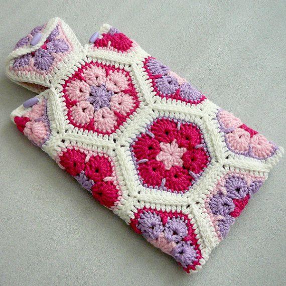 Crochet Hot Water Bottle Cozy, African Flower Hot Water Bottle Cover on Etsy, $29.00