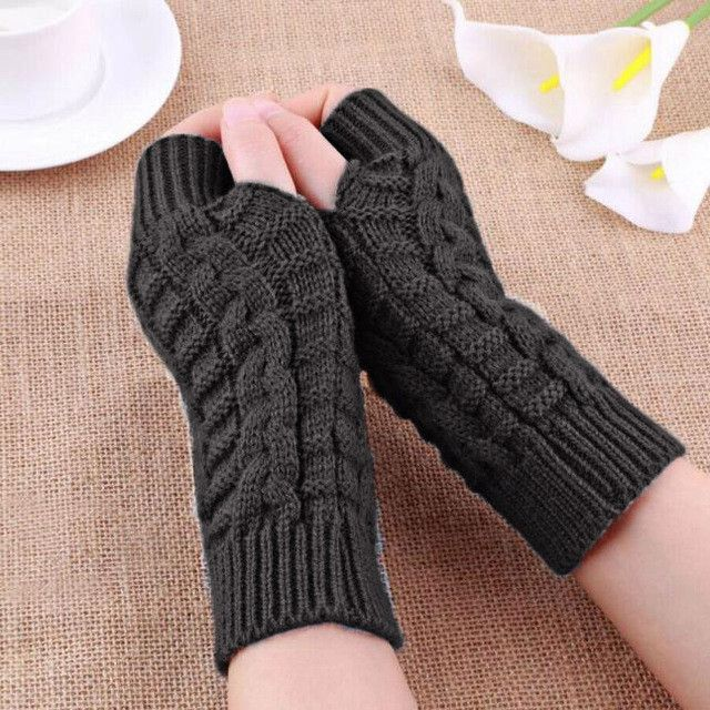 Women Winter Warm Knit Crochet Solid Braided Fingerless Gloves Mittens