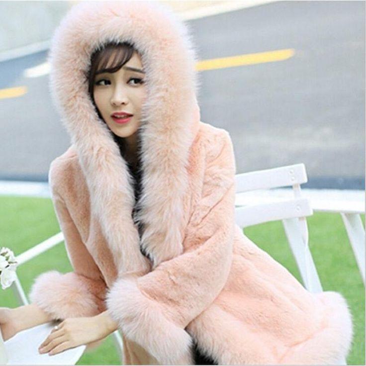 Women's Fashion Thicken Hooded Snow Coats Faux Fur Jackets Winter Overcoat