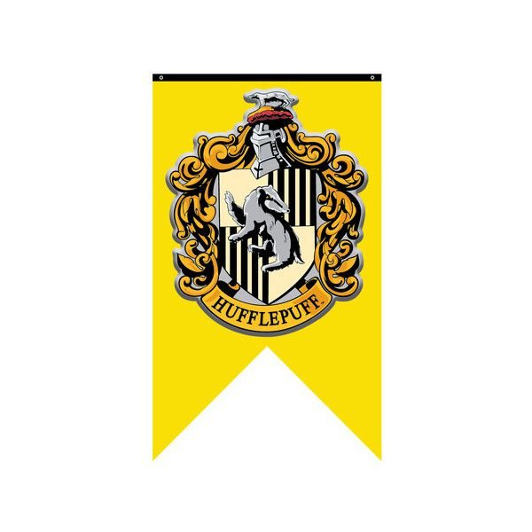Harry Potter- Hufflepuff Crest Banner Fabric Poster ($22) ❤ liked on Polyvore featuring home, home decor, wall art, textile wall art, movie wall art, fabric posters, fabric wall art and movie posters