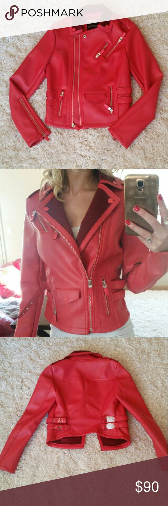 NWT Express womens slim moto faux leather jacket Hot red faux leather jacket! 4 zippers in the front. A zipper on each sleeve. 4 buckles in the back! Slim fit jacket. Brand new, buckles still covered for protection.   Shell face :100% polyurethane Shell back: 94% polyester, 6% spandex Size: XS Express Jackets & Coats