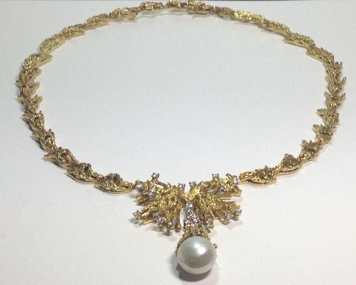 Online veilinghuis Catawiki: Gouden ketting met diamanten en parel –* Zonder reserveprijs *
