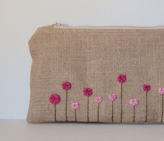Rose Garden Burlap Hand Embroidered Zipper Clutch in Pink Fuchsia - Peony Spring Garden