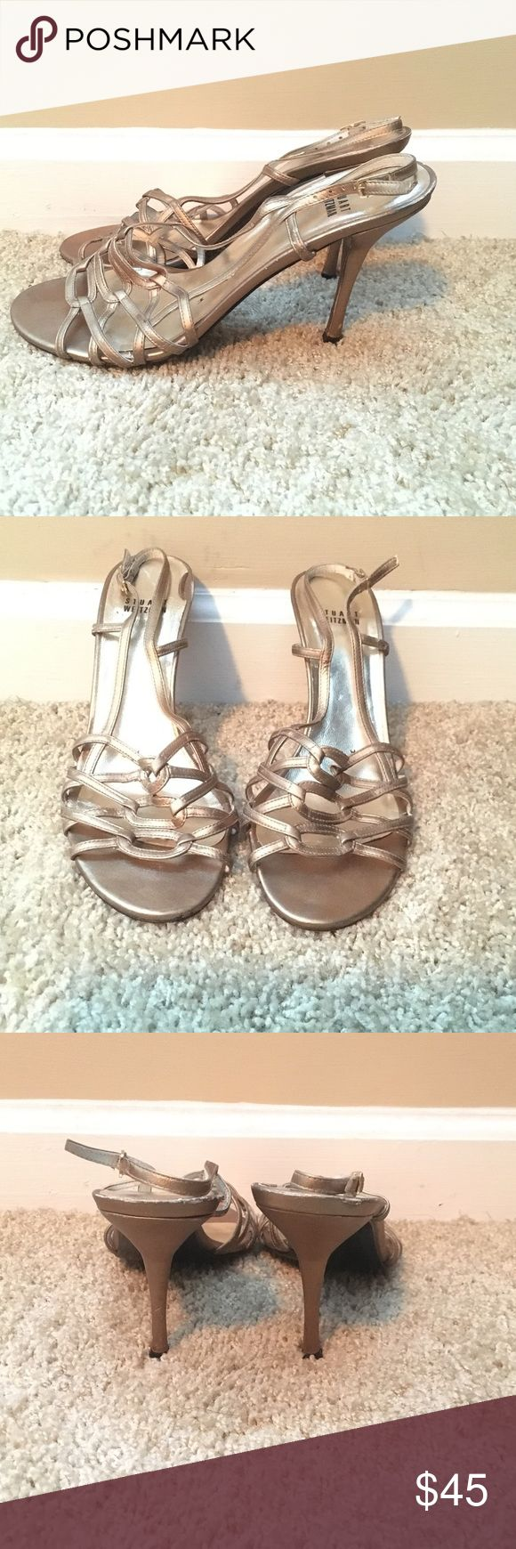 Gold sandal, heel around 3 1/2-4 inches. Stuart Weitzman Gold sandal, heel around 3 1/2-4 inches. Comfortable fit. Stuart Weitzman Shoes Sandals