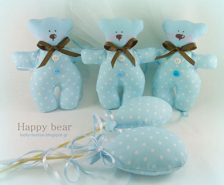 Το τυχερό κουμπί: Μπομπονιέρες Βάπτισης Υφασμάτινα αρκουδάκια και μπαλόνια lucky-button.blogspot.gr