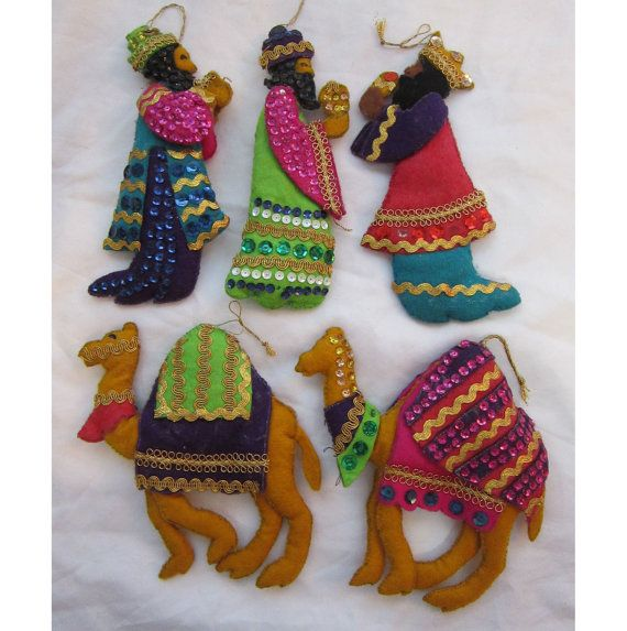 5 vintage handmade ornaments THREE WiSE MEN and by theartfloozy
