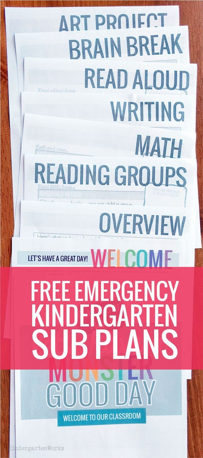 Emergency Sub Plans for Kindergarten from Teach Junkie Beginning of the year emergency sub plans for kindergarten - monster theme