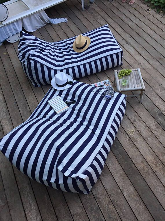 Outdoor Bean Bag Navy Blue And White Stripes Pouf Chair