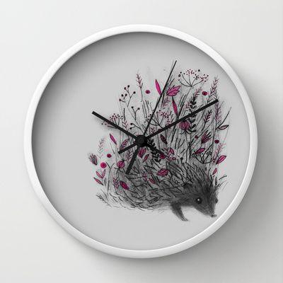 HEDGEHOG (grey) Wall Clock by Linette No