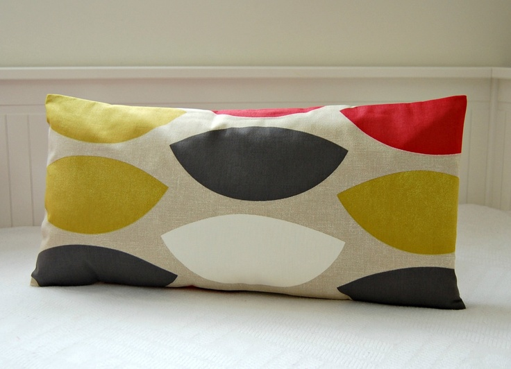pillow cover mustard yellow red grey gray shapes abstract , 12 x 24 inch retro lumbar cushion cover. £16.50, via Etsy.