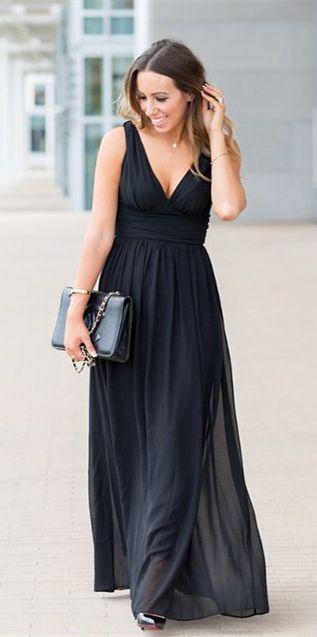 Ever-Pretty Black Double V Elegant Evening Dress,prom dress long, chiffon prom dress,dress online. black dress,evening dress 2015,pretty look, special occassion dress USD$34.99 only on ever-pretty.