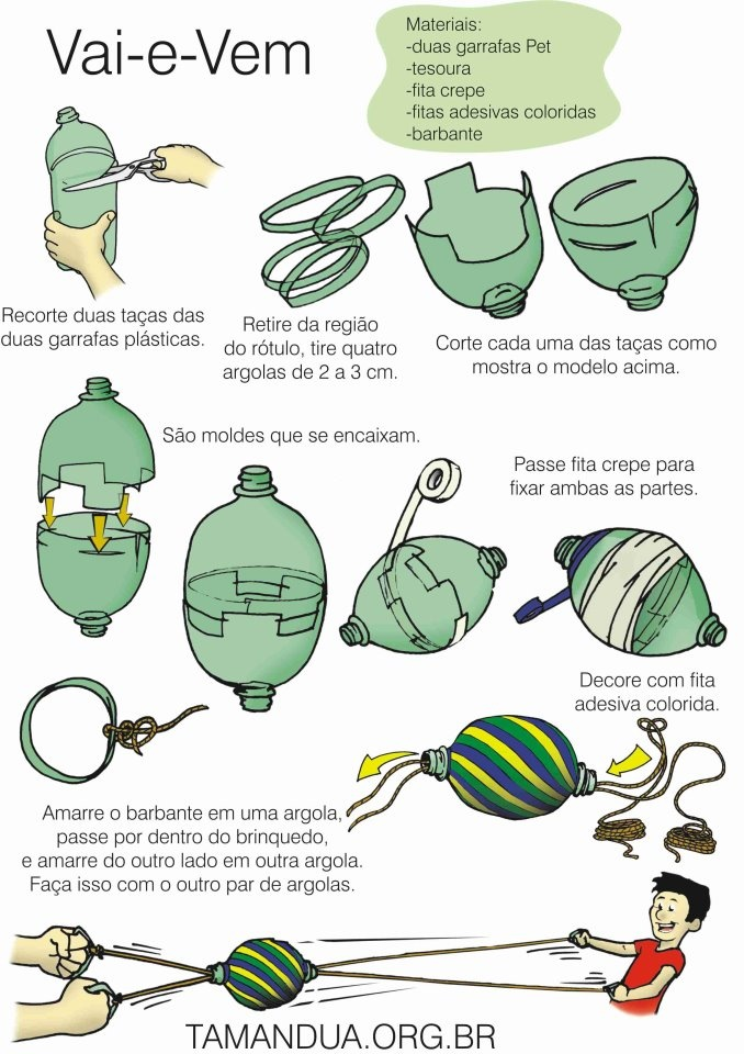 """Bottiglie di plastica, in un modo o nell'altro si riesce sempre a riusarle! Simple toy """"Vai e vem"""""""