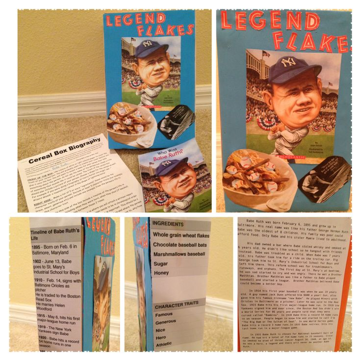 Cereal box biography school project for kids kid school for Cereal box project for school