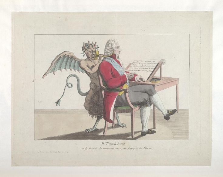 1815.Bodleian Libraries, - le modèle de reconnaissance, au Congrés de Vienne.French political cartoon. Charles-Maurice de Talleyrand.Congress of Vienna