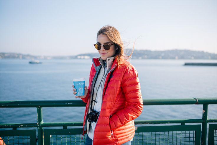 Gal Meets Glam Bainbridge Island -Barbour vest, Patagonia jacket, Sézane shirt and Ray Ban sunglasses
