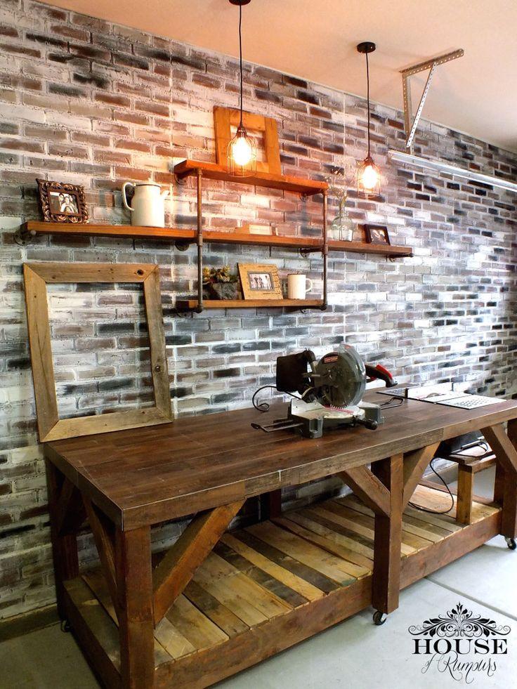 boards, brick wall, cart, edison, finishes, garage shop, industrial, lighting…