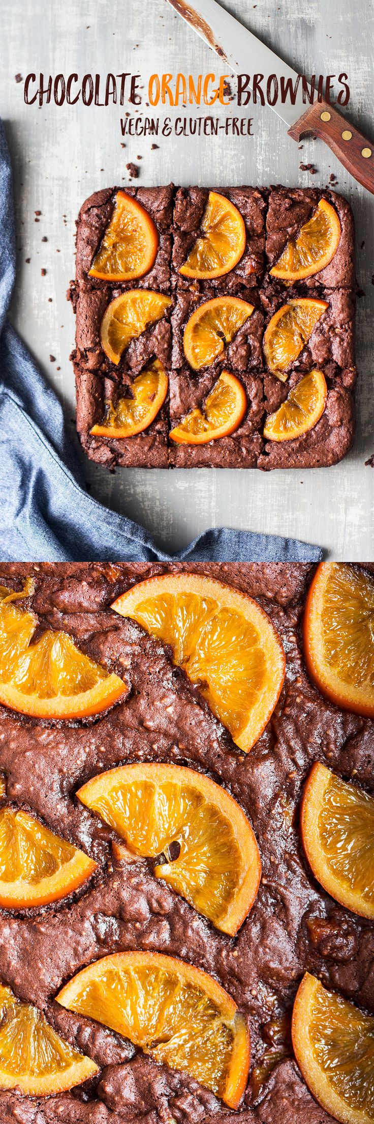 fudgy chocolate orange vegan  brownies