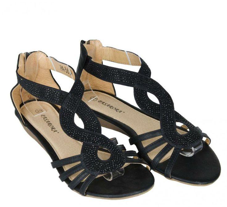 Sandale Dama Eight Style Black  -Sandale dama  -Talpa joasa  -Fermoar la spate  -Detaliu aplicatii strasuri