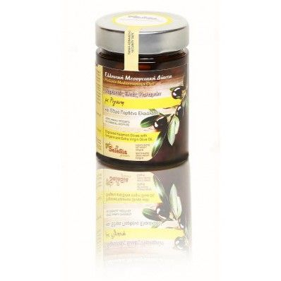 """Olives with oregano and Extra Virgin Oil (engraved) """"SeleSia""""  The """"black diamond"""" of Mediterranean diet, is Olives from Kalamata. We suggest you to taste this famous and special rich food, authentic Kalamon olives with oregano and Extra Virgin Oil.  A great, rich and nutritious food for our health."""