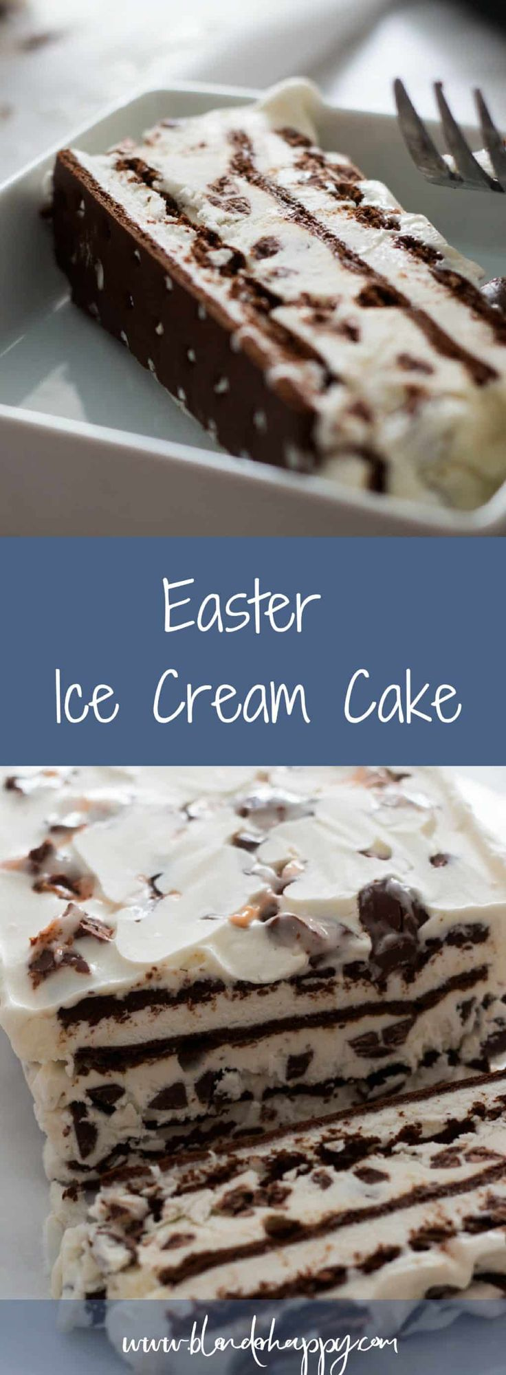Easter Ice Cream Cake is the perfect seasonal dessert to make at home. It is easy yet will still impress your kids. via @blenderhappy