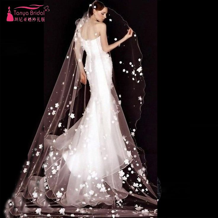 Find More Bridal Veils Information about  2.5 M Amazing Beautiful Wedding Veil One Layer With 3D Flower Luxury Bridal Veil wedding accessories voile mariage Fashion Z648,High Quality veil wedding,China wedding veil Suppliers, Cheap voile mariage from Tanya Bridal Store on Aliexpress.com