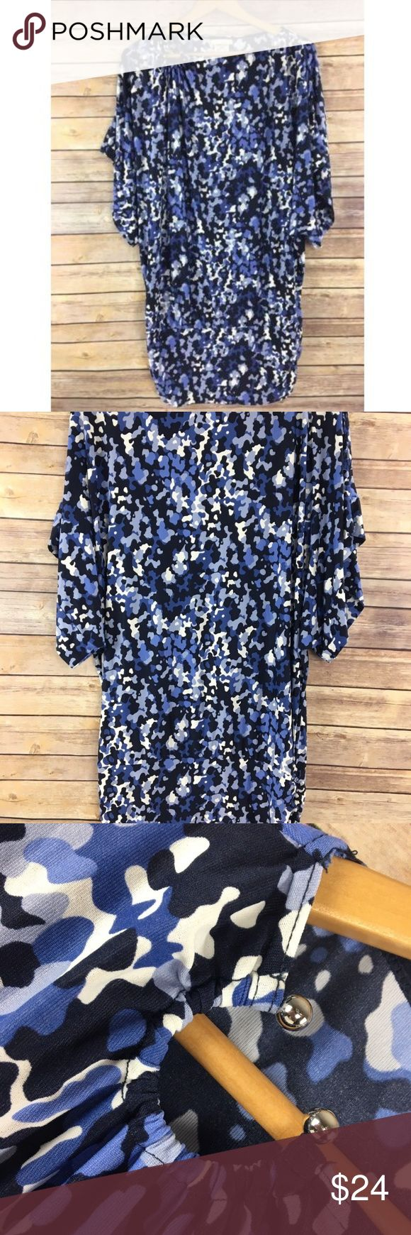 """Michael Kors Dress S Small Blue Camo Loose Fit Michael Kors Dress S Small Blue Camo Loose Fit Stretch H77 Gently used condition, no holes or stains, soft fabric Measures 25"""" from armpit to armpit lying flat, 35"""" length (shoulder to hem) Michael Kors Dresses Mini"""