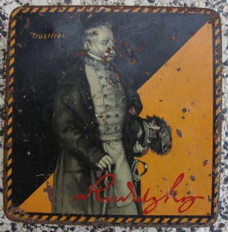 (Henry Collection) WW1 alte Blechdose Radetzky-Zigaretten-Gold,A.M. Eckstein u. Söhne Dresden,Trustfrei