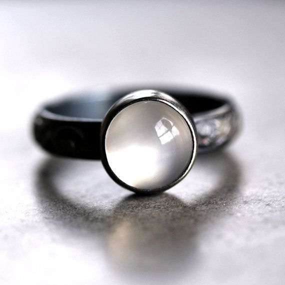 White Moonstone Ring, Snow White Gemstone Oxidized Sterling Silver Ring Metalsmithed