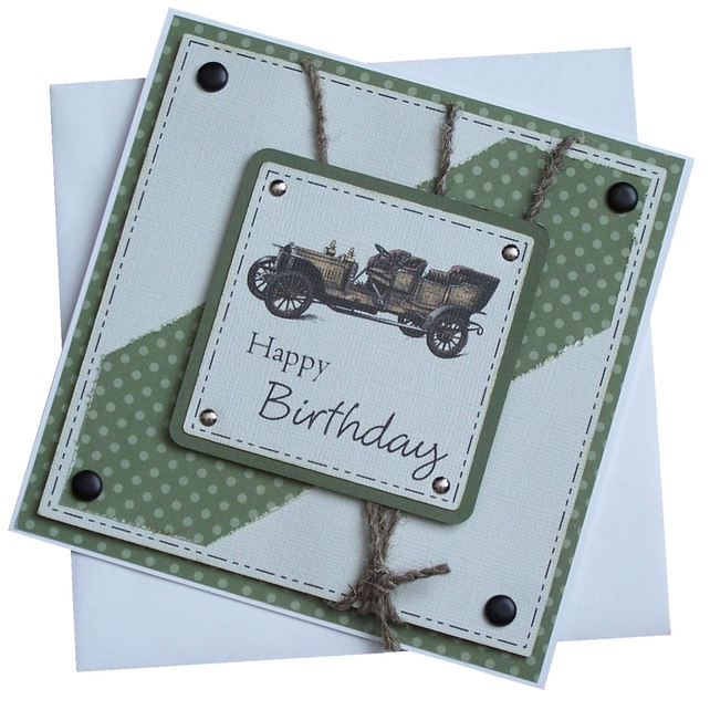 44 best car cards images on pinterest diy cards man card and handmade old car birthday card 180 bookmarktalkfo Image collections