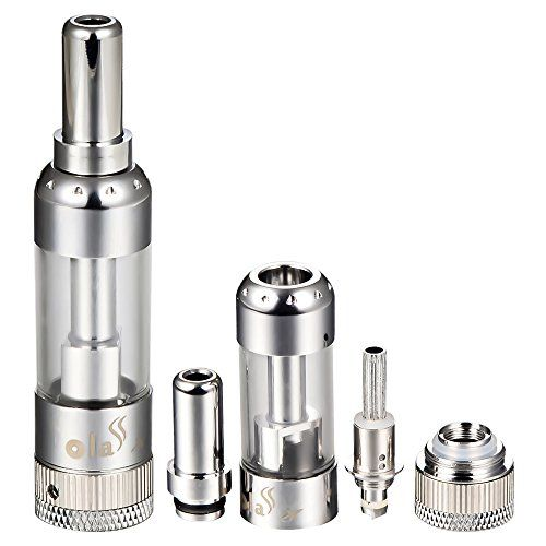 Nicotine Free. Bottom dual coil, no wicks, huge vapor, the replaceable coil head(Ola-3). Bottom air-flow control. 100% no leakage, no burning taste, no dry heating.