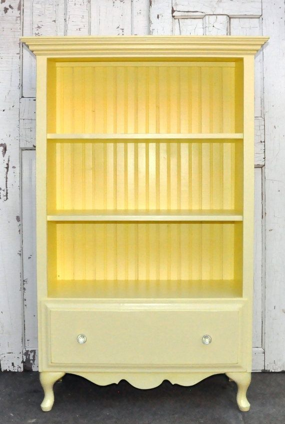 Bookcase With Drawer In Vintage Yellow Repurposed