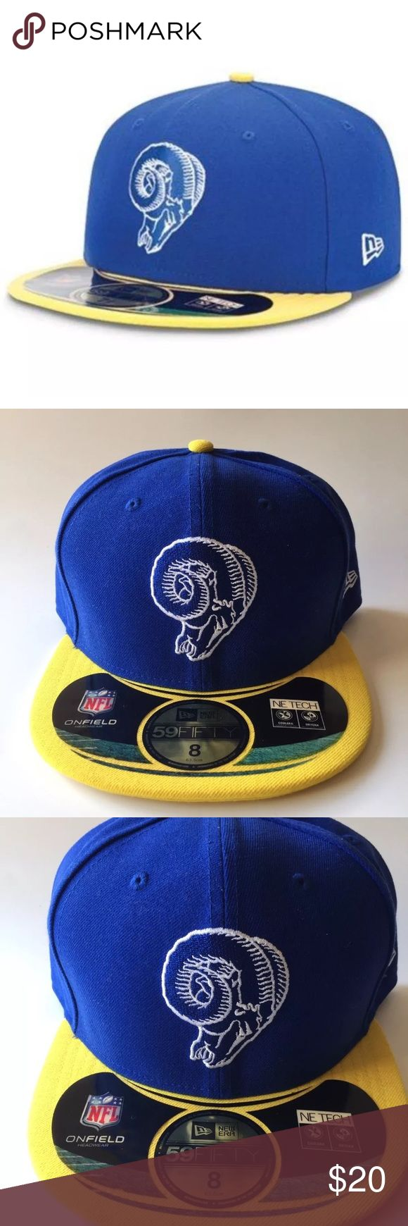 New Era 59Fifty Los Angeles Rams Fitted Hat Size 8 New Era 59Fifty Los Angeles Rams Official On Field Classics Fitted Hat Cap Size 8  Brand : NewEra  Style : 59Fifty  Size : 8  Color : Blue/Yellow  Material : 100% Polyester  Embroidered white New Era logo on the left side of the hat  BRAND NEW New Era Accessories Hats