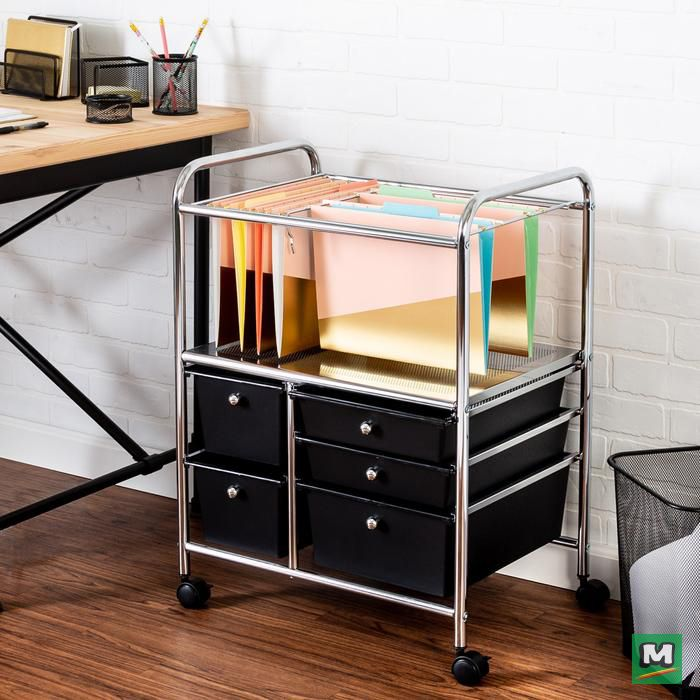 Stay Organized With This Honey Can Do 5 Drawer Hanging File Cart This Cart Has Room To Hang Fi Rolling Storage Office Organization At Work Under Desk Storage