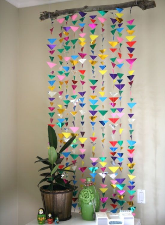 Hanging Triangle Garland | Click Pic for 20 DIY Decorating Ideas for Girls Room | DIY Bedroom Decorating Ideas for Girls