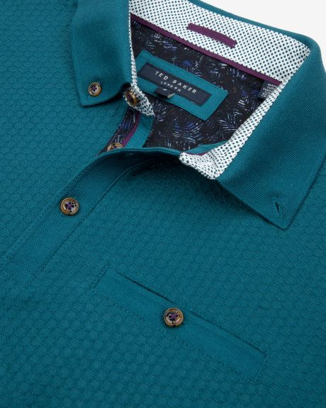 Geo textured polo shirt - Turquoise | Tops & T-shirts | Ted Baker UK