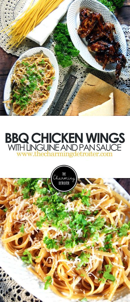 Barbecue Chicken Wings: A simple weeknight meal of oven-roasted chicken wings with barbecue sauce paired with a beautiful pan sauce and linguine.
