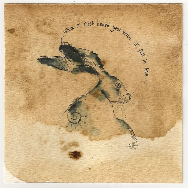 ARTFINDER: Listening Hare by Jilly  Henderson - This little 'Listening Hare' original drawing is 145mm x 145mm in size. He sits patiently on hand stained paper which gives him an aged appearance like an ol...