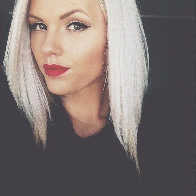 Platinum Blonde Hair White Blond Hair Inspiration Red Lips Black Cat Eyes Beauty Makeup Modern Hair Inspiration Hair Beauty Platinum Blonde Hair