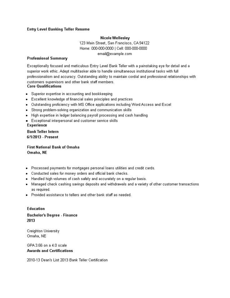 Entry level banking teller resume how to draft an entry