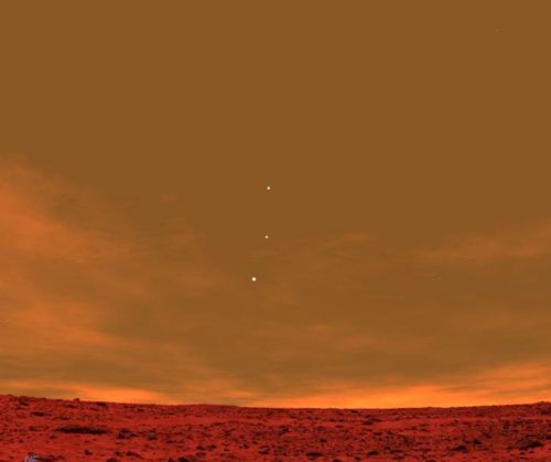 Earth, Jupiter, and Venus from the surface of Mars.