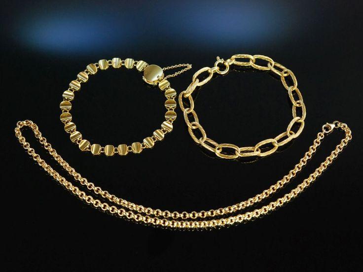 Fine Gold Bracelets and Gold Necklace! Wunderschöne Goldschmiede Armbänder Gold 750 / 18 Karat und klassische Gold Kette, hochwertiger Gold Schmuck bei Die Halsbandaffaire