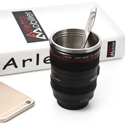 Wholesale Camera Lens Stainless Steel Cup 24 - 105mm Coffee Tea Travel Thermos Mug with Lens Lid (BLACK)   Everbuying