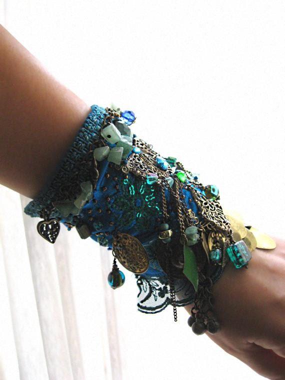 Teal Blue Gypsy Jangle Bracelet Green Silk by AllThingsPretty, $165.00