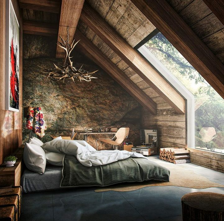 cabin dream home amazing glass mirror morning view - Stone Cottage Interiors
