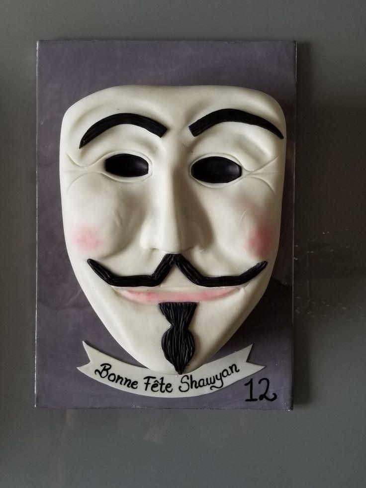 Anonymous mask birthday cake