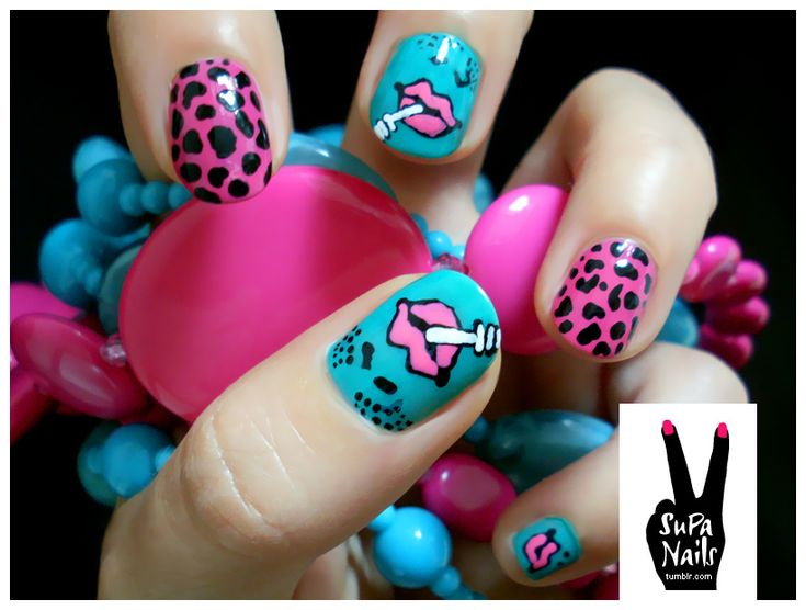 all the designs on this page are amazing.: Color Fashion, Nails Art, Nailart, Nails Design, Pop Art Nails, Fun Nails, Nails Polish, Leopards Prints, Betsey Johnson